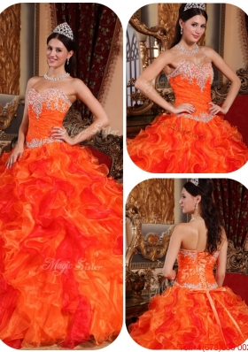 Summer Exclusive Appliques and Beading Orange Quinceanera Gowns