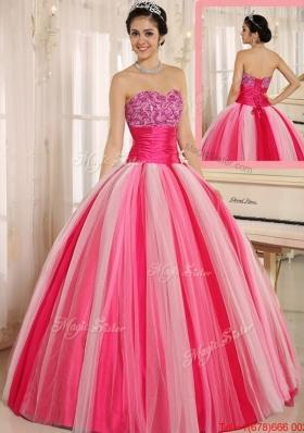 Summer Hot Sale Multi Color Strapless Lace Up Quincanera Dresses