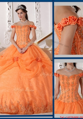 Beautiful Ball Gown Appliques and Hand Made Flowers Sweet 15 Dresses