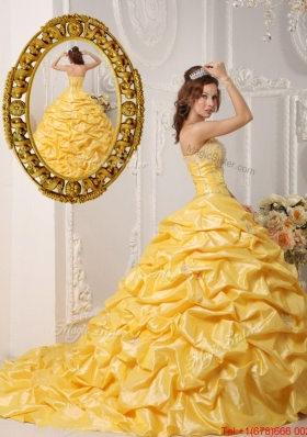 8340bc3e89 Perfect Pick Ups and Appliques Quinceanera Gowns with Court Train