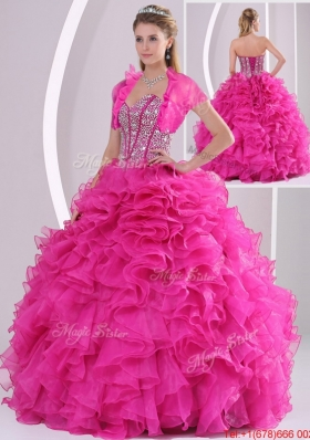 Perfect Ruffles and Beading Fuchsia Sweet 15 Dresses