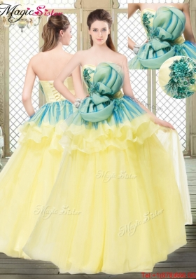 2016 A Line Strapless Prom Dresses with Bowknot and Ruffles