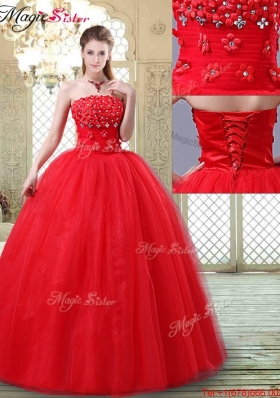 2016 Inexpensive Strapless Prom Dresses with Hand Made Flowers