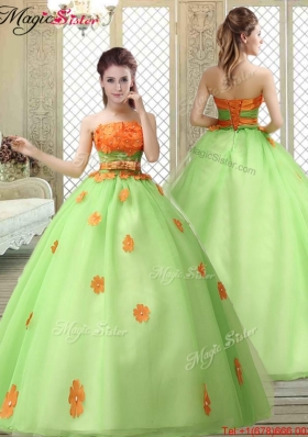 2016 Latest Strapless Prom owns with  Appliques and Belt