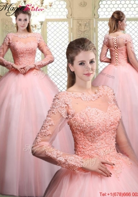 Pretty Bateau Long Sleeves Beading and Discount Quinceanera Dresses