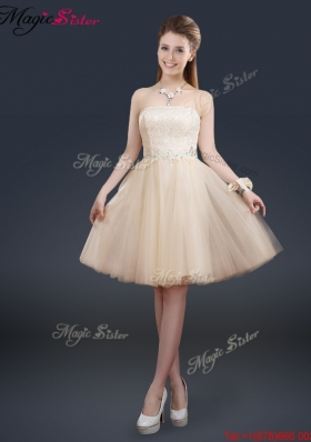 2016 Fashionable Strapless Lace Champagne Bridesmaid Dresses