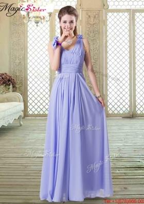 2016 Romantic Empire Straps Bridesmaid Dresses in Lavender