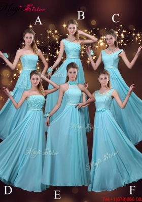 2016 Cheap Empire Aqua Blue Bridesmaid Dresses