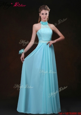2016 Hot Sale Empire Halter Top Prom Dresses with Lace