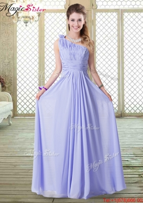 2016 Lovely Empire One Shoulder Prom Dresses in Lavender