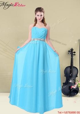 2016 Summer Fashionable Ruching Prom Dresses in Aqua Blue