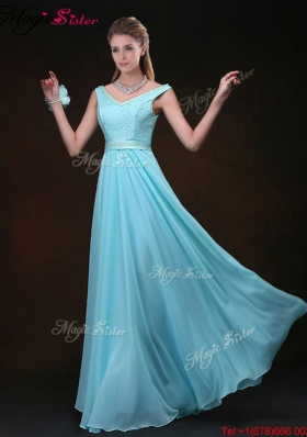 Low price Empire V Neck Prom Dresses with Belt and Lace
