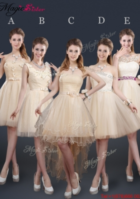 Sweet Short Bridesmaid Dresses with Appliques and Belt