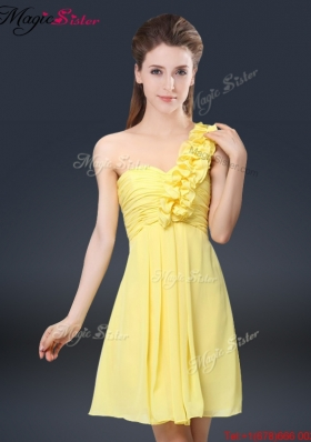 Sweet Short One Shoulder Ruching Prom Dresses