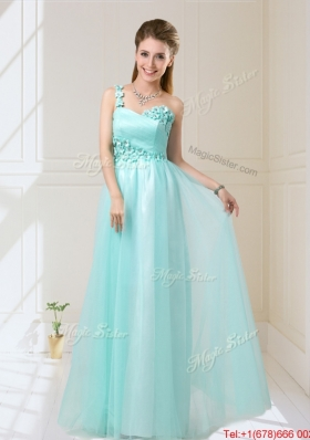 Feminine One Shoulder Floor Length Prom Dresses with Appliques