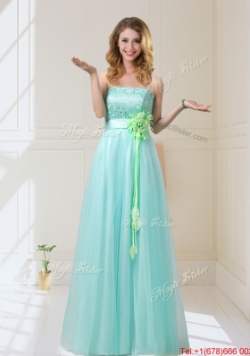 2015 Empire Strapless Dama Dresses with Hand Made Flowers