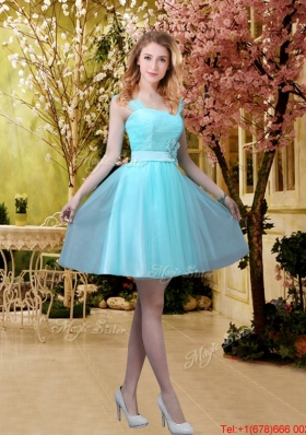 2016 Pretty Aqua Blue Short Prom Dresses with Belt