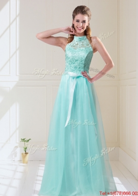 Elegant Empire Halter Top Laced Mint Prom Dresses with Sash