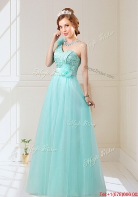 Elegant Empire Lace Up Hand Made Flowers Prom Dresses in Mint