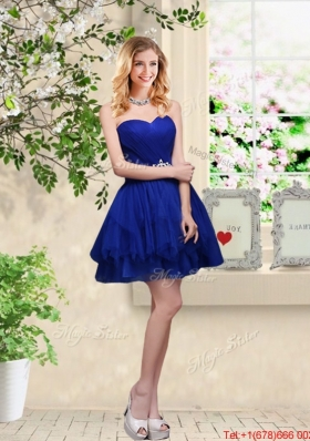 Simple Sweetheart Royal Blue Bridesmaid Dresses with Belt