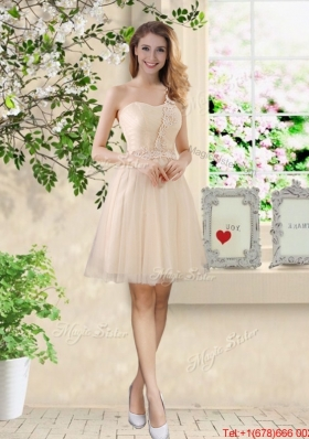 Beautiful Short Champagne Prom Dresses with One Shoulder
