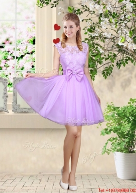 Decent Bateau A Line Prom Dresses with Lace and Bowknot