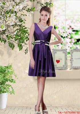 Discount V Neck Zipper Up Prom Dresses in Dark Purple