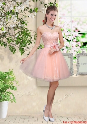 Elegant Sweetheart Baby Pink Prom Dresses with Appliques and Belt