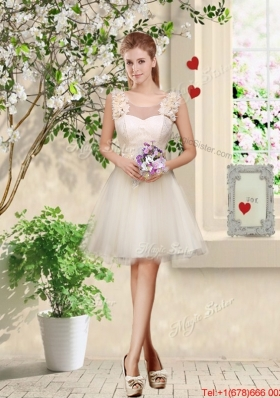Feminine A Line Hand Made Flowers Bridesmaid Dresses in Champagne