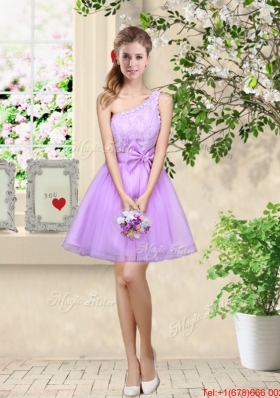 Popular A Line One Shoulder Laced Prom Dresses in Lavender