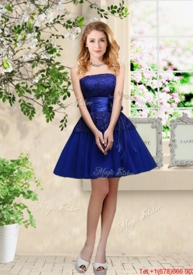 Popular Hand Made Flowers Royal Blue Bridesmaid Dresses with Appliques