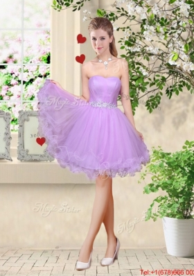 Simple A Line Strapless Lavender Bridesmaid Dresses with Belt