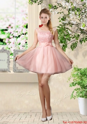Sturning A Line Bateau Dama Dresses with Lace and Bowknot