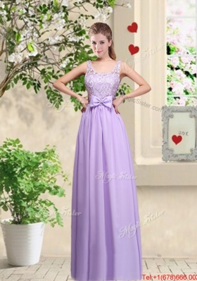 Beautiful Scoop Bridesmaid Dresses with Lace and Bowknot