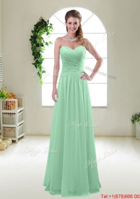 Comfortable Sweetheart Apple Green Bridesmaid Dresses with Ruching