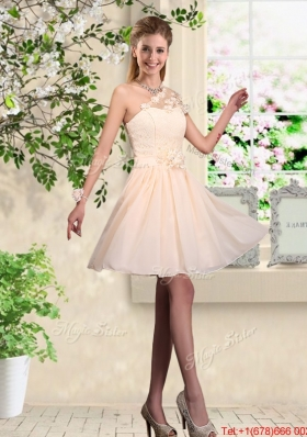Lovely One Shoulder Bridesmaid Dresses with Hand Made Flowers