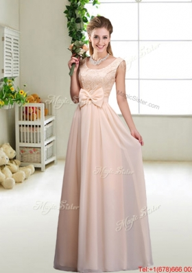 Perfect Bowknot Scoop Dama Dresses in Champagne