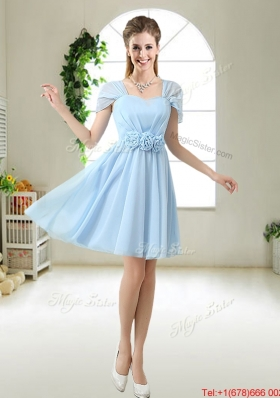 Pretty Hand Made Flowers Bridesmaid Dresses with Cap Sleeves