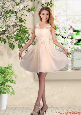 Suitable V Neck Appliques Prom Dresses in Champagne