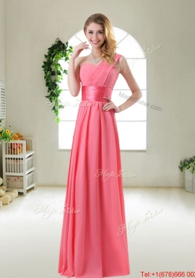 Cheap Watermelon Red Bridesmaid Dresses with One Shoulder