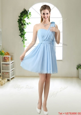 New One Shoulder Bridesmaid Dresses with Hand Made Flowers