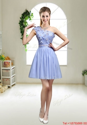 Perfect One Shoulder Appliques Prom Dresses in Lavender