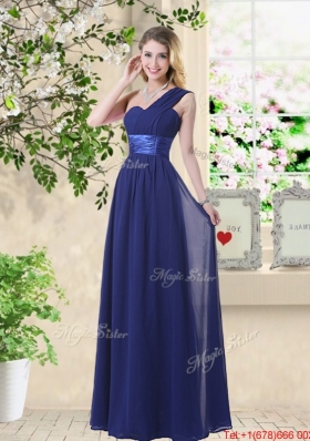 Cheap One Shoulder Floor Length Prom Dresses in Navy Blue