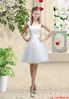Discount One Shoulder Appliques Prom Dresses in White