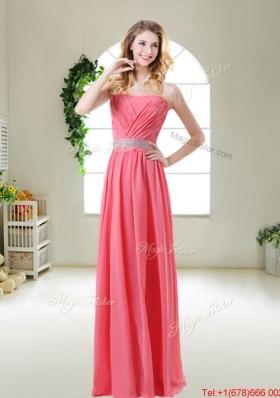 Elegant Strapless Dama Dresses in Watermelon Red