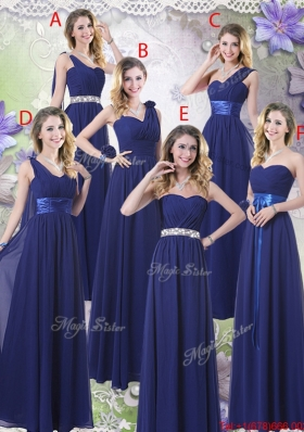 New Style Empire Floor Length Bridesmaid Dresses In Navy Blue