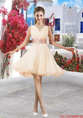 Affordable Champagne V Neck Bridesmaid Dresses with Belt and Ruching