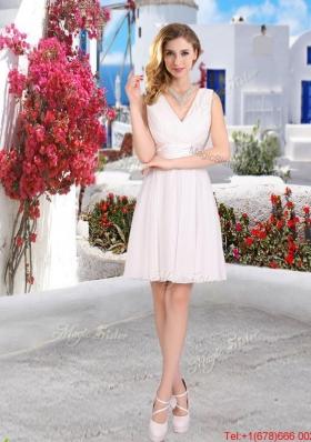 Cheap White V Neck Prom Dresses with Mini Length