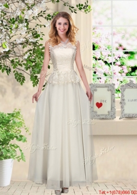 Perfect Champagne Prom Dresses with Appliques and Lace