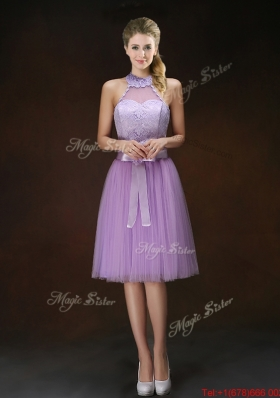 Popular Knee Length Prom Dresses with Halter Top